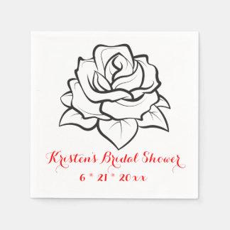 Floral Bridal Shower Rose Flower Black  Wedding Paper Napkins