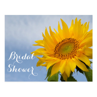 Floral Bridal Shower Sunflowers Blue Yellow Flower Postcard
