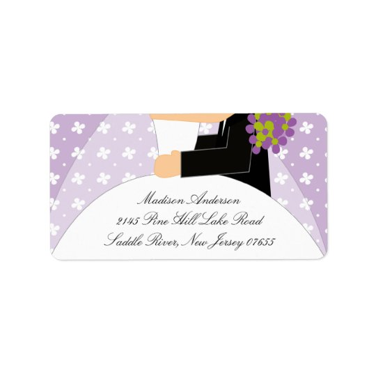 Floral Bride & Groom Return Address Label