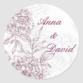Floral Bride Groom Wedding Seal Sticker Wine Red