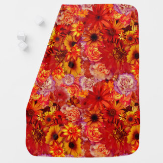 Floral Bright Rojo Bouquet Rich Red Hot Daisies Baby Blanket