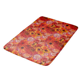 Floral Bright Rojo Bouquet Rich Red Hot Daisies Bath Mat