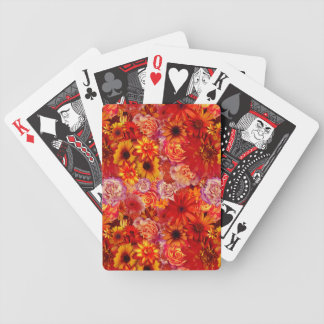Floral Bright Rojo Bouquet Rich Red Hot Daisies Bicycle Playing Cards