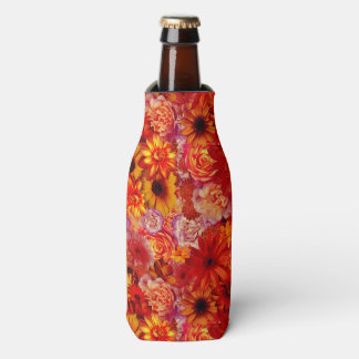 Floral Bright Rojo Bouquet Rich Red Hot Daisies Bottle Cooler