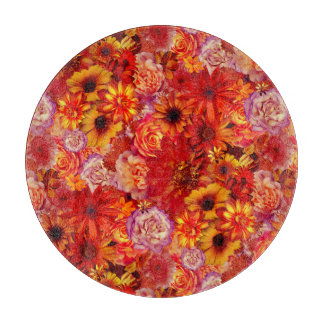 Floral Bright Rojo Bouquet Rich Red Hot Daisies Cutting Board