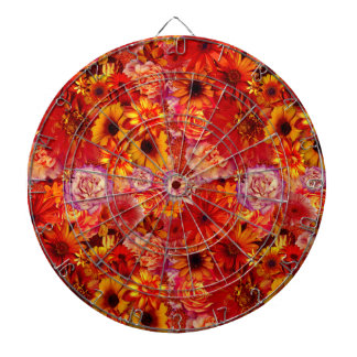 Floral Bright Rojo Bouquet Rich Red Hot Daisies Dartboard