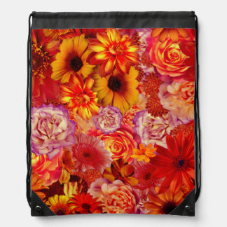 Floral Bright Rojo Bouquet Rich Red Hot Daisies Drawstring Bag