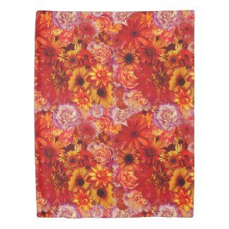 Floral Bright Rojo Bouquet Rich Red Hot Daisies Duvet Cover