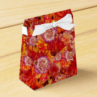 Floral Bright Rojo Bouquet Rich Red Hot Daisies Favor Box