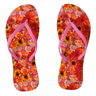 Floral Bright Rojo Bouquet Rich Red Hot Daisies Flip Flops