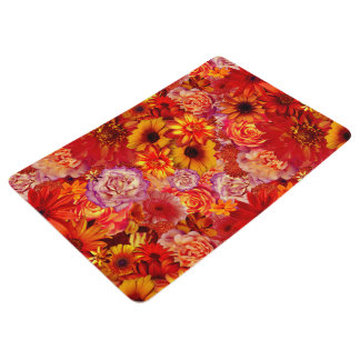 Floral Bright Rojo Bouquet Rich Red Hot Daisies Floor Mat
