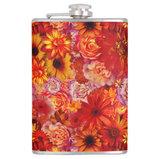 Floral Bright Rojo Bouquet Rich Red Hot Daisies Hip Flask
