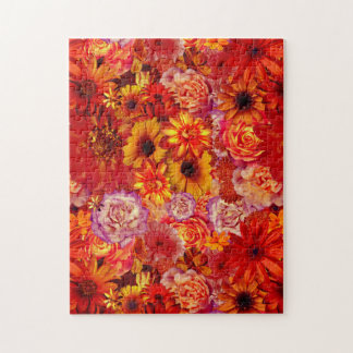 Floral Bright Rojo Bouquet Rich Red Hot Daisies Jigsaw Puzzle