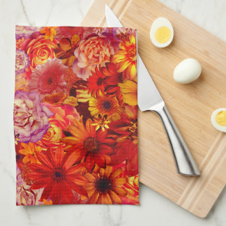 Floral Bright Rojo Bouquet Rich Red Hot Daisies Kitchen Towels