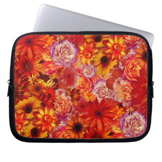 Floral Bright Rojo Bouquet Rich Red Hot Daisies Laptop Sleeve