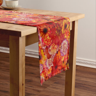 Floral Bright Rojo Bouquet Rich Red Hot Daisies Medium Table Runner