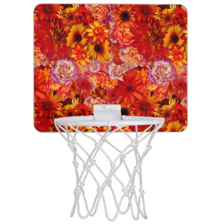 Floral Bright Rojo Bouquet Rich Red Hot Daisies Mini Basketball Hoop
