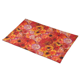 Floral Bright Rojo Bouquet Rich Red Hot Daisies Placemat