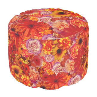Floral Bright Rojo Bouquet Rich Red Hot Daisies Pouf