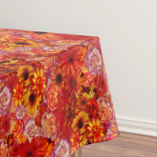 Floral Bright Rojo Bouquet Rich Red Hot Daisies Tablecloth