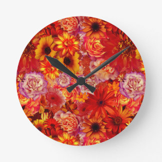 Floral Bright Rojo Bouquet Rich Red Hot Daisies Wall Clocks