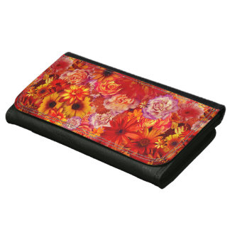Floral Bright Rojo Bouquet Rich Red Hot Daisies Wallets