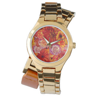 Floral Bright Rojo Bouquet Rich Red Hot Daisies Watch