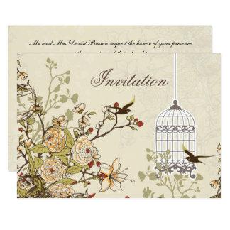 floral brown bird cage, love birds invites