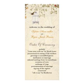 floral brown birds cage, birds wedding programs custom rack card
