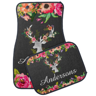 Floral Buck Deer Boho Personalized Custom Car Mats Auto Mat