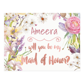 Floral Bunches Maid of Honor Request Postcard