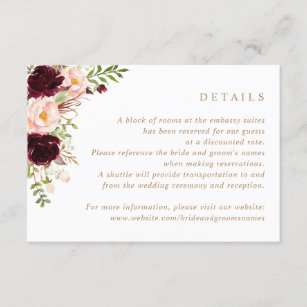 Floral Burgundy Blush Greenery Wedding Details Invitation