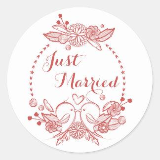 Floral Burgundy Just Married Red Lovebirds Wedding Round Sticker