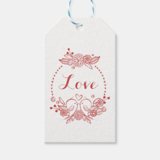 Floral Burgundy Love Red Lovebirds Wedding Gift Tags