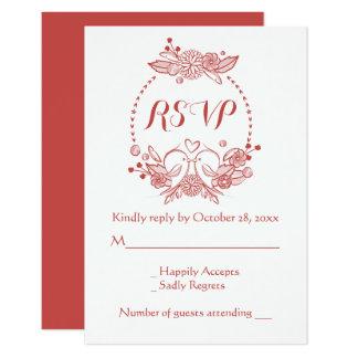 Floral Burgundy RSVP Lovebirds Wedding Wreath Card