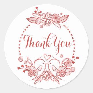 Floral Burgundy Thank You Red Lovebirds Wreath Classic Round Sticker