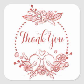 Floral Burgundy Thank You Red Lovebirds Wreath Square Sticker