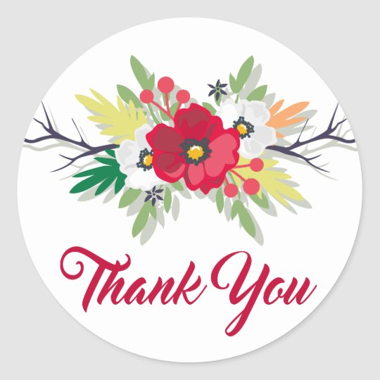 Floral Burgundy Thank You Watercolor Red Flowers Classic Round Sticker