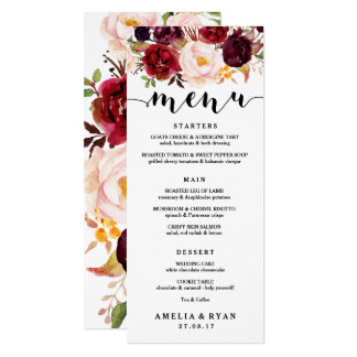 Floral Burgundy Wedding Menu Card