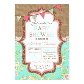 Floral, Burlap, & Lace Baby Shower Invitation