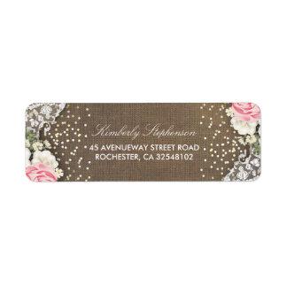 Floral Burlap Lace Gold Confetti Rustic Country Return Address Label