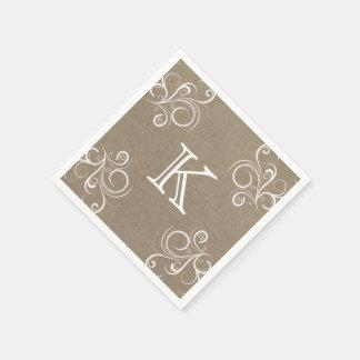 Floral Burlap Monogram Napkins Paper Napkins