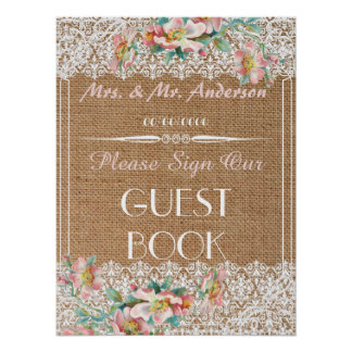 Floral burlap wedding guestbook poster