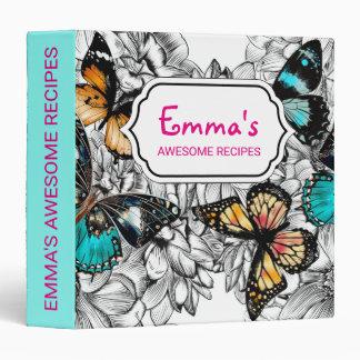 Floral Butterflies colorful sketch pattern 3 Ring Binders