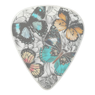 Floral Butterflies colorful sketch pattern Acetal Guitar Pick
