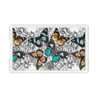 Floral Butterflies colorful sketch pattern Acrylic Tray