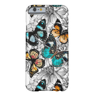 Floral Butterflies colorful sketch pattern Barely There iPhone 6 Case