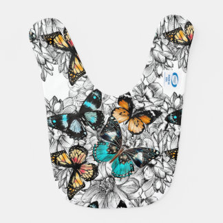 Floral Butterflies colorful sketch pattern Bib