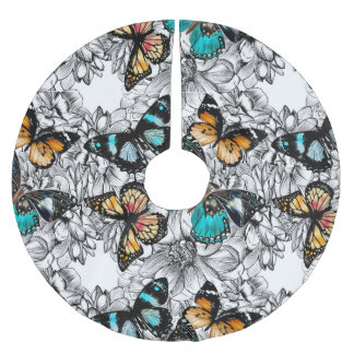Floral Butterflies colorful sketch pattern Brushed Polyester Tree Skirt