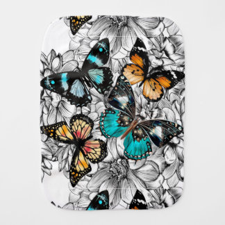 Floral Butterflies colorful sketch pattern Burp Cloth